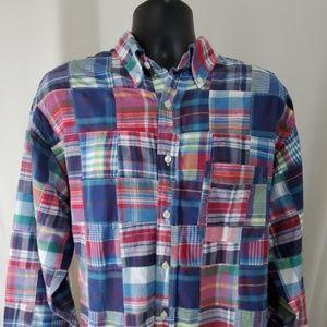 BROOKS BROTHERS Quilt Patchwork Shirt Size L